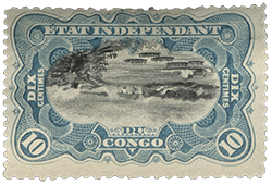 10c River Scene on the Congo invert error single