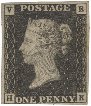 1p Penny Black VR official single, 1840