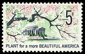Cerezos en flor en Washington D.C. Sello de la serie Beautification of America (1969).