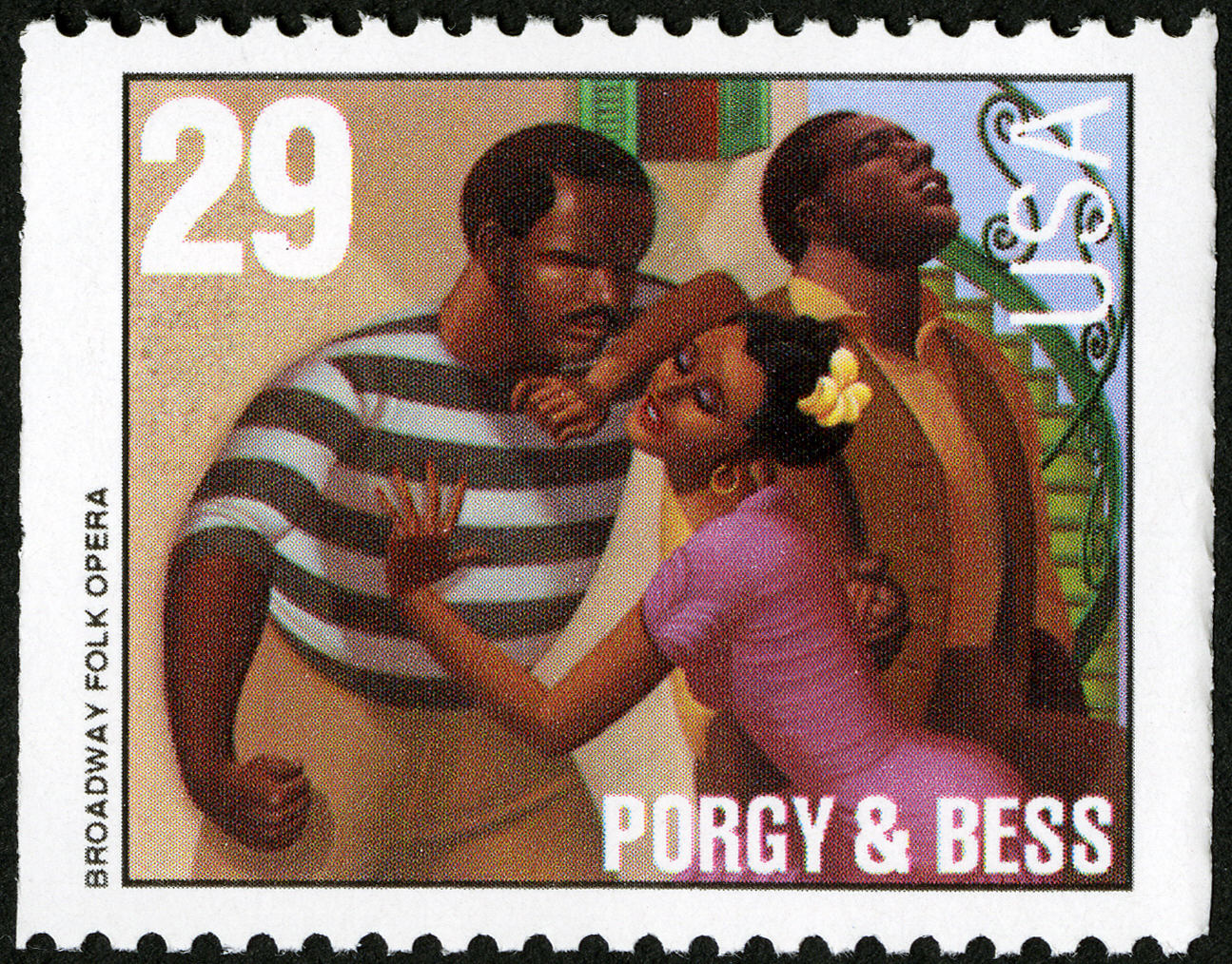 Postage stamp depicting singing man in background, and a woman leaning into the chest of a man in foreground.