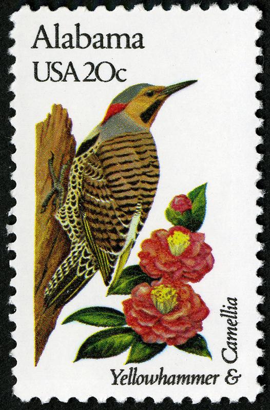 Sello Pájaro carpintero y Camelia. Serie de sellos Pájaros y flores del estado, correspondiente a Alabama (1982).