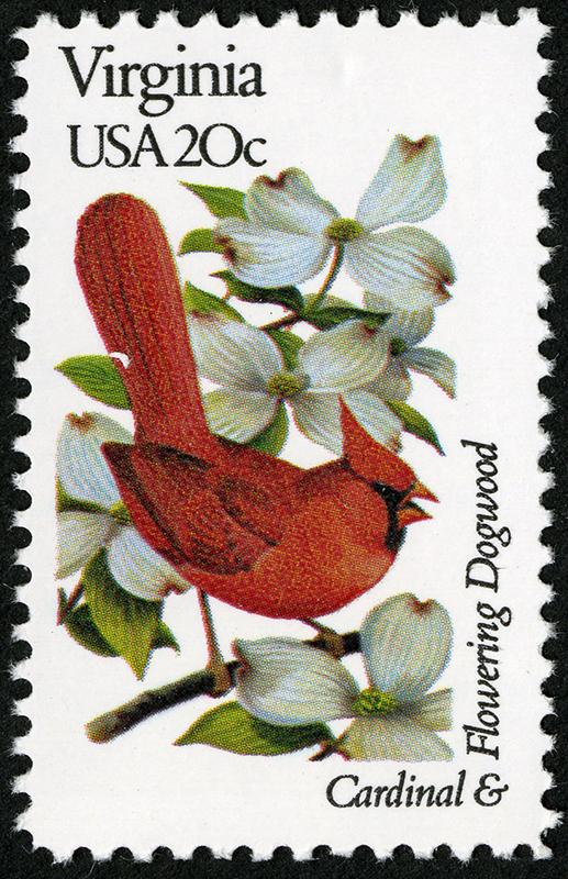 Cardenal norteño y Flor del cerezo. Serie de sellos Pájaros y flores del estado, correspondiente a Virginia (1982).