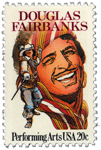 20c Performing Arts stamp with Douglas Fairbanks- smiling with a turban and also with an epee