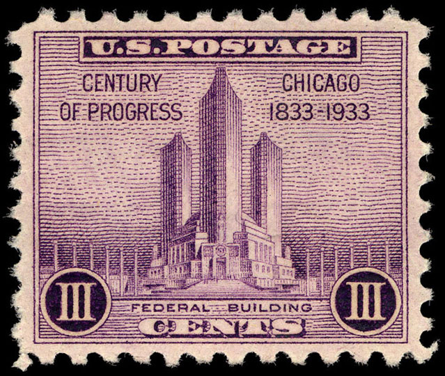 3c violet Federal Building single, May 25, 1933
