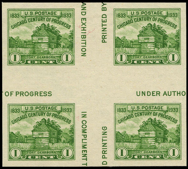 1c yellow green block with crossed gutters, March 15, 1935