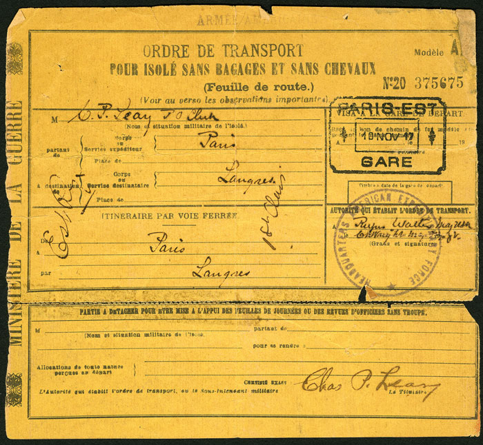 French Ministry of War transport pass (for Leary to travel from Paris to his station at Langres)