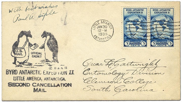 Byrd Antarctic Expedition II, Little America, Antarctica. Second Cancellation Mail- The cachet featuring two penguins was for mail that received the second cancellation at Little America, Antarctica