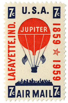 Lafayette, IND. 1859-1959- 100th anniversary 7c postage stamp with an illustration of the Balloon Jupiter