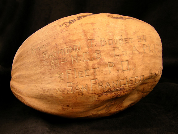 Return address etched into back of coconut