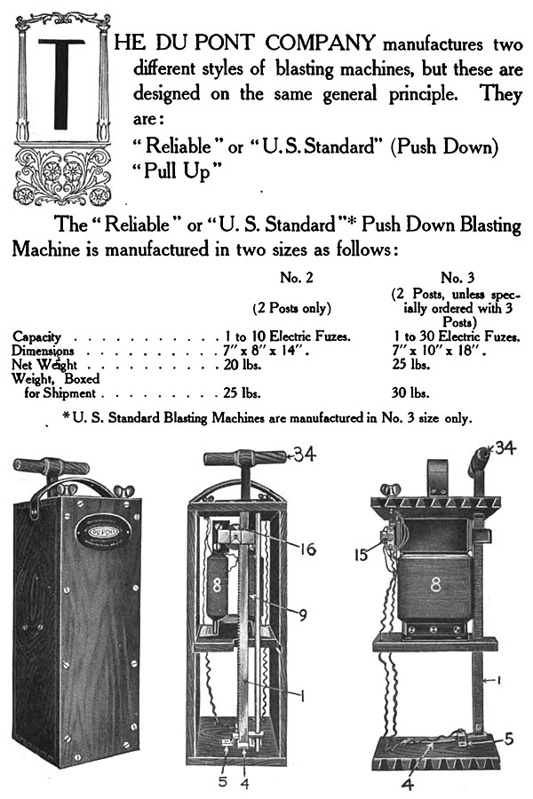 The Du Pont Company manufactures two different styles of blasting machines, but these are designed on the same general principle. They are: Reliable or U.S. Standard (Push Down) and Pull Up.- Page from 1911 edition of 'DuPont Blasting Supplies' describing the specs of their number 3 blasting machine