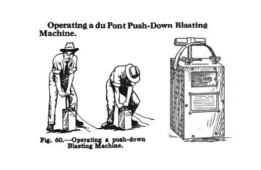 Page illustrating proper use of a du Pont Push-Down Blasting Machine from DuPont's 'Blaster's Handbook' from 1922
