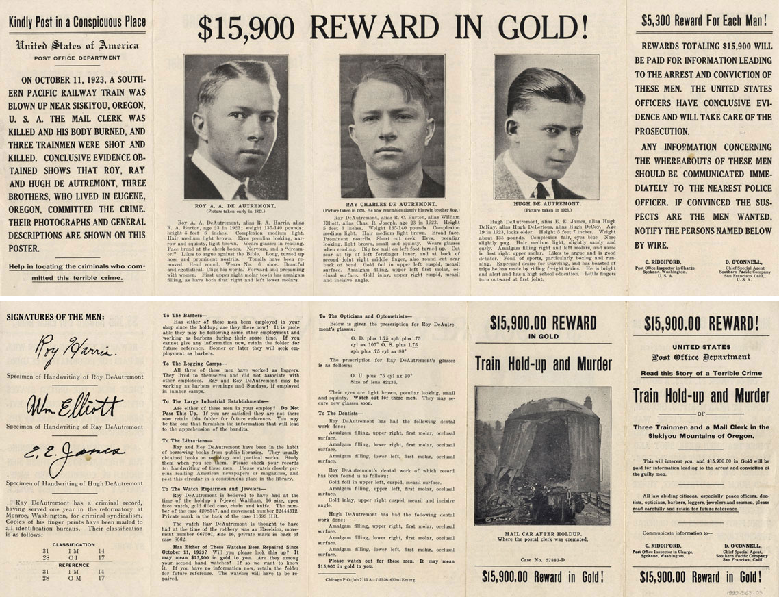 $15,900 Reward in Gold!- Wanted poster for the brothers