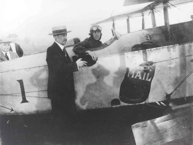 photo of Airmail pilot Max Miller in a Standard JR-1B aircraft