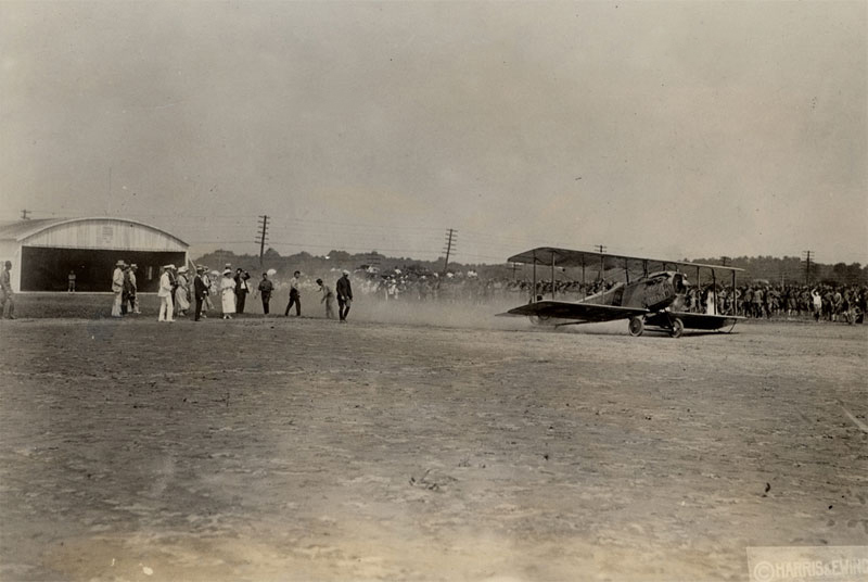 photo of Max Miller taking off on August 12, 1918 with mail from the College Park, Maryland airfield, bound for Bustleton, Pennsylvania