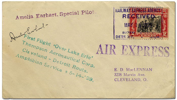 envelope from Earhart's 1929 amphibian flight