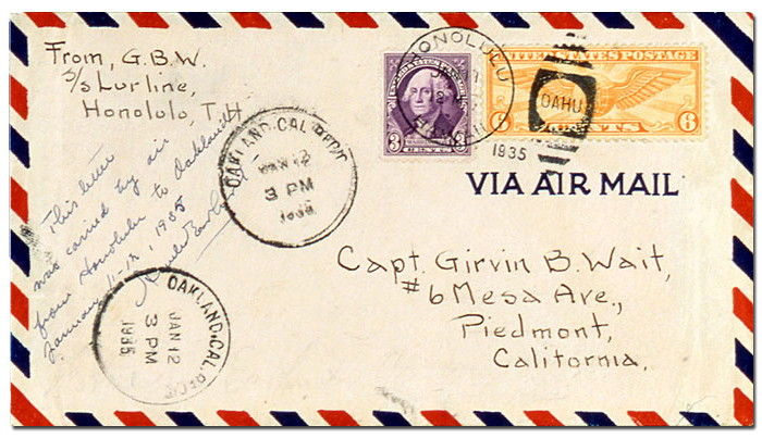 envelope from Earhart's 1935 solo flight