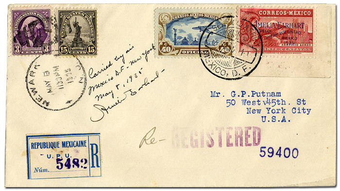 envelope featuring special stamp issued by Mexico for Earhart's solo nonstop flight from Mexico City to Newark