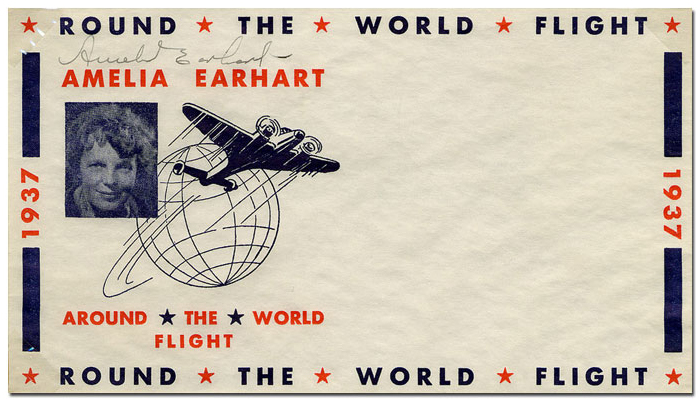Round the World Flight- Example of mail prepared for her final flight around the world, featuring Earhart's picture