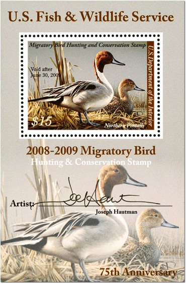 U.S. Fish & Wildlife Service 2008-2009 Migratory Bird Hunting & Conservation Stamp 75th Anniversary- $15 Northern Pintails autographed mini-sheet, 2008