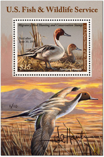 $15 Northern Pintails mini-sheet Remarque (added painting in margin) by Joseph Hautman, 2008