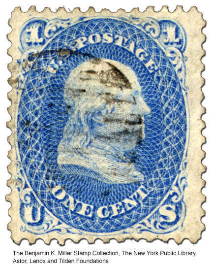 1-cent blue stamp with Benjamin Frankli- Z grill