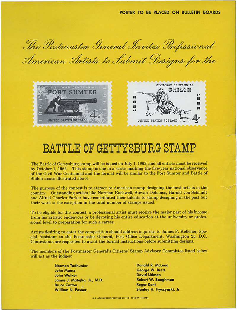 The Postmaster General Invites Professional American Artists to Submit Designs for the Battle of Gettysburg Stamp- Poster advertising the Battle of Gettysburg stamp design contest