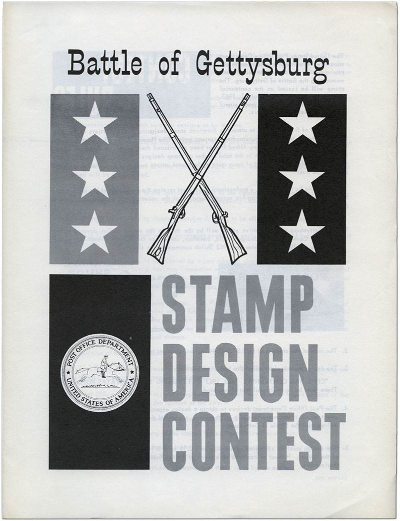 Battle of Gettysburg Stamp Design Contest- Contest rules pamphlet sent to those who inquired