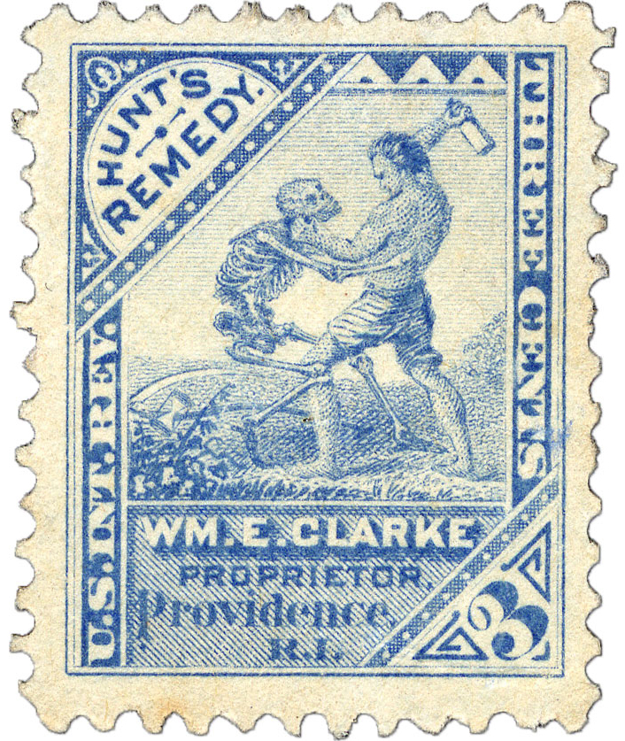 3¢ Hunt's Remedy blue private die medicine stamp