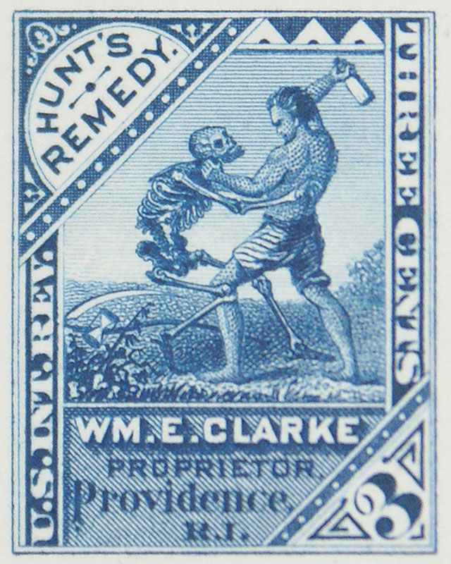 WM.E. Clarke Proprietor, Providence, RI- 3¢ Hunt's Remedy blue die proof (digitally cropped)