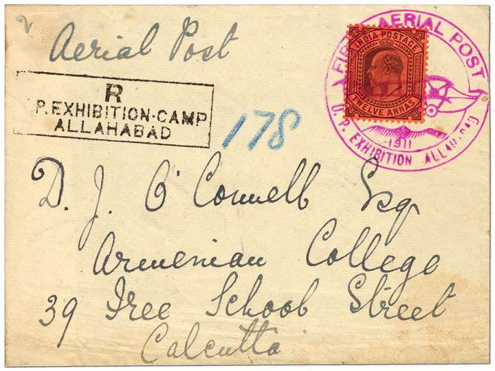 Cover from first official airmail flight by airplane, India, 1911