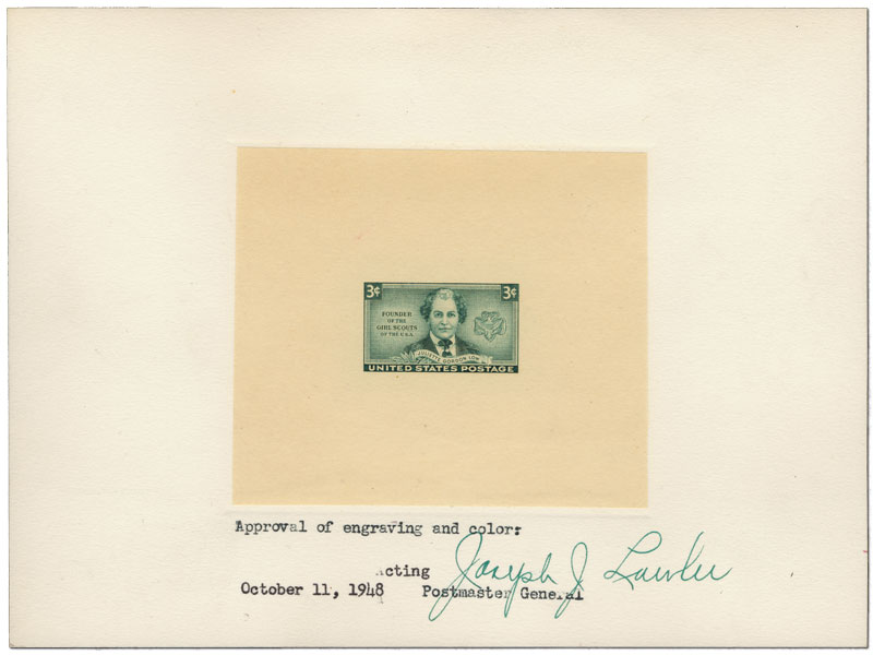 Approval of engraving and color: Acting Postmaster General, October 11, 1948- 3c Juliette Gordon Low approved die proof