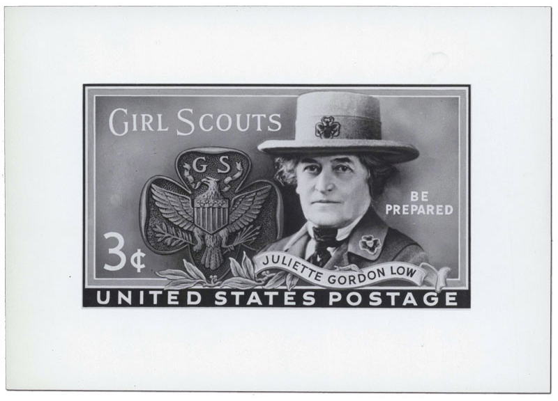 Rejected model of the Juliette Gordon Low 3c stamp, with the Girl Scout hat