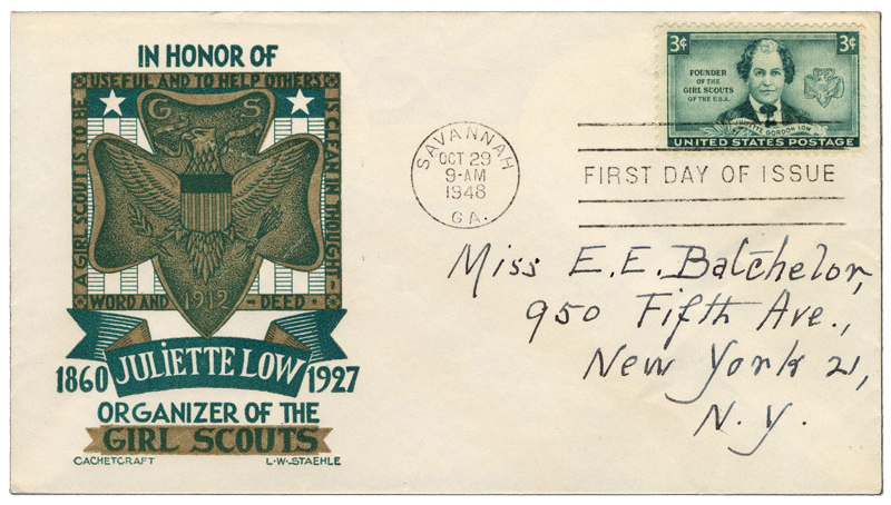 In Honor of Juliette Low, Organizer of the Girl Scouts with crest- First day cover of the Juliette Gordon Low stamp addressed to noted philatelist Emma Batchelor