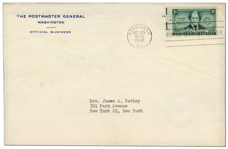 First day cover of the Juliette Gordon Low stamp addressed to Bess Farley, wife of former Postmaster General James A. Farley