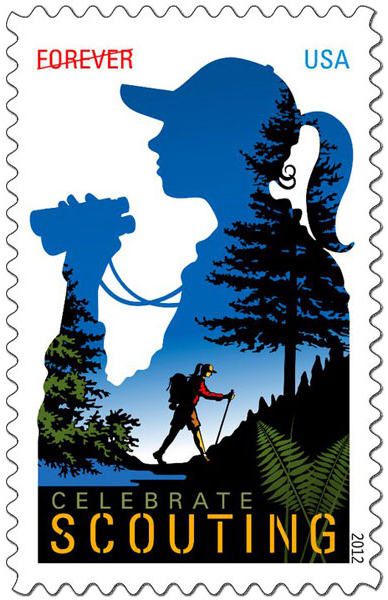 Celebrate Scouting forever stamp with a girl hiking through the forest and the silhouette of a girl with binoculars