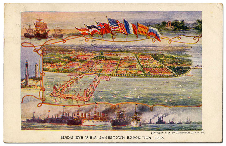 colorful Postcard View of the 1907 Jamestown Exposition with boats, lighthouses, and flags surrounding