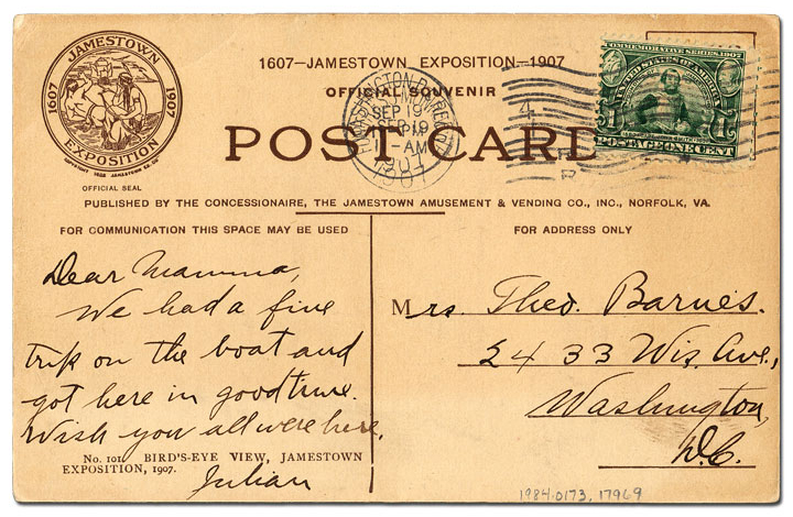 Reverse of Postcard sent by a visitor