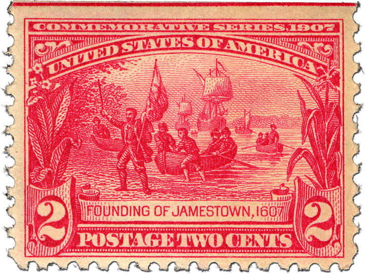 red 2¢ Founding of Jamestown stamp showing the landing of the boat