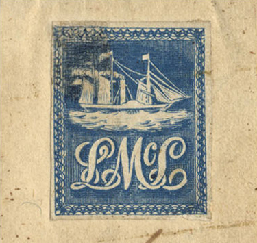 blue Lady McLeod stamp with a ship and the letters LML in elegant script