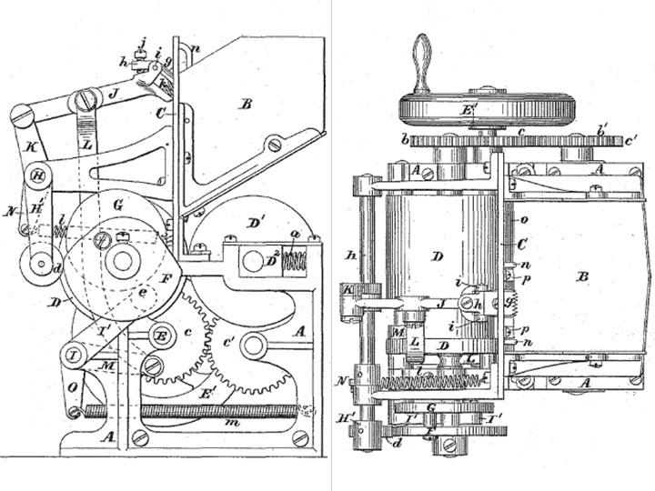 Corresponding Patent 219,586 drawing of the stamp canceller