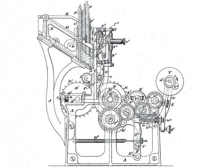 Corresponding Patent 219,587 drawing of the stamp canceller