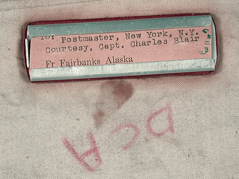 To: Postmaster, New York, NY, Courtesy, Capt.  Charles Blair, Fr Fairbanks Alaska- Airmail sack label and marking