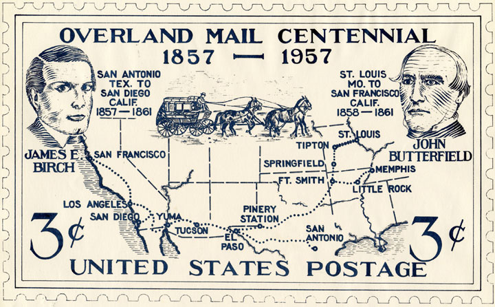Overland Mail Centennial- Unsolicited 3c stamp design submitted by the California Overland Mail Centennials Committee with a map of the United States and depictions of James Birch and John Butterfield