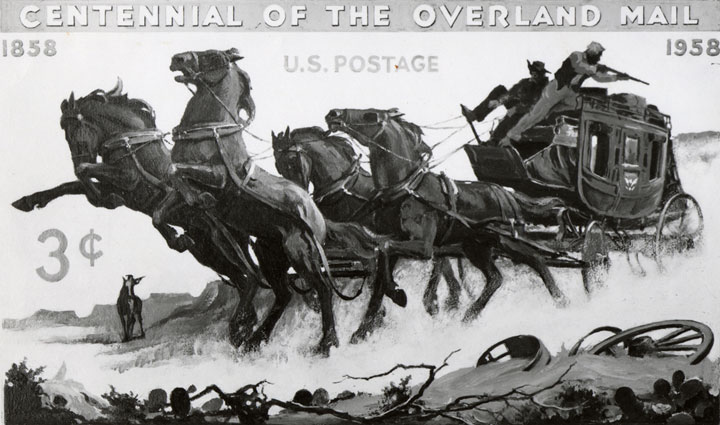 Charles Chickering's original concept for the Overland Mail commemorative- 3c stamp with galloping horses pulling a wagon