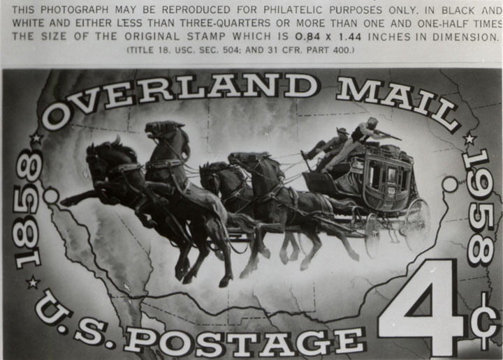 4c stamp with galloping horses pulling a wagon inside a map of the United States