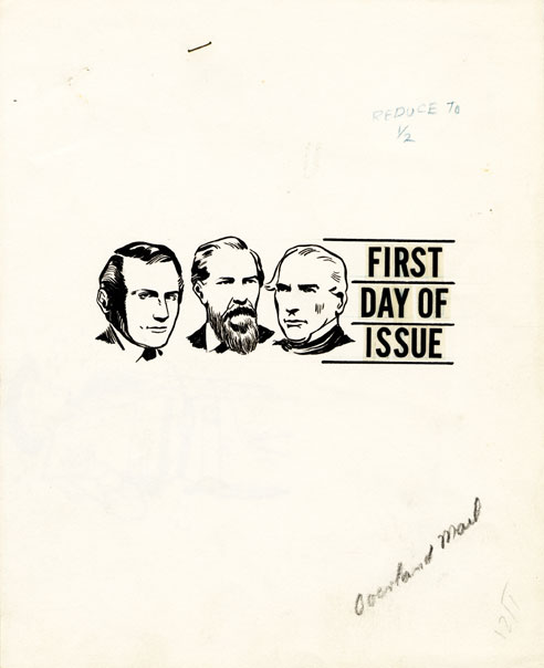First Day of Issue- A rejected mockup for pictorial first day cancel with depictions of Butterfield, Birch, and Giddings
