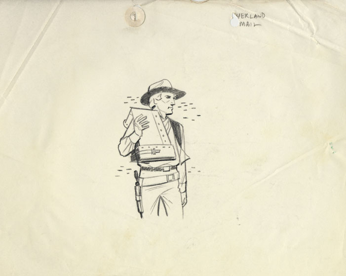 A rejected mockup for pictorial first day cancel- a man carrying a mail bag