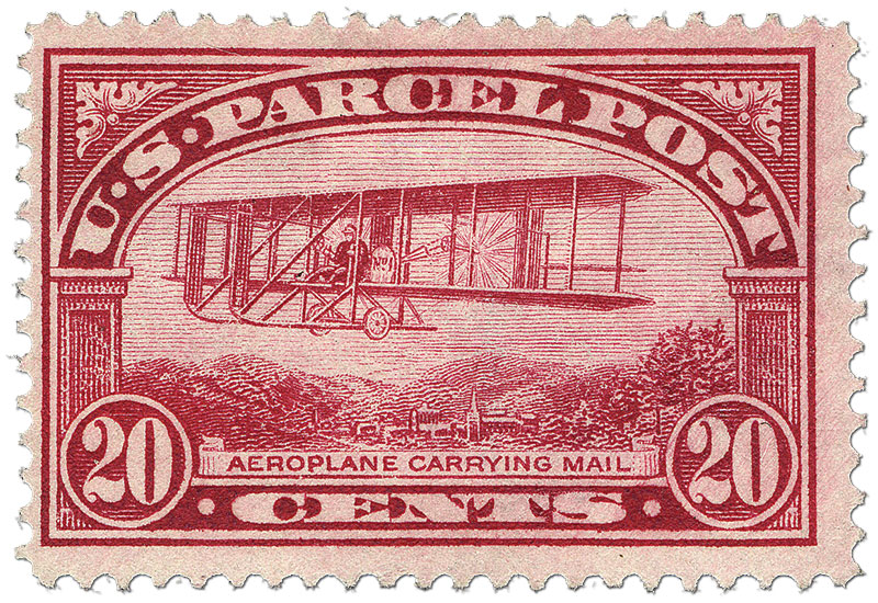 red 20-cent U.S. Parcel Post stamp, 1913, with an aeroplane carrying mail