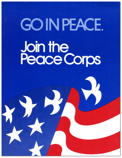 Go in Peace. Join the Peace Corps- 1970s Peace Corps poster with the US flag and its stars turning into white doves