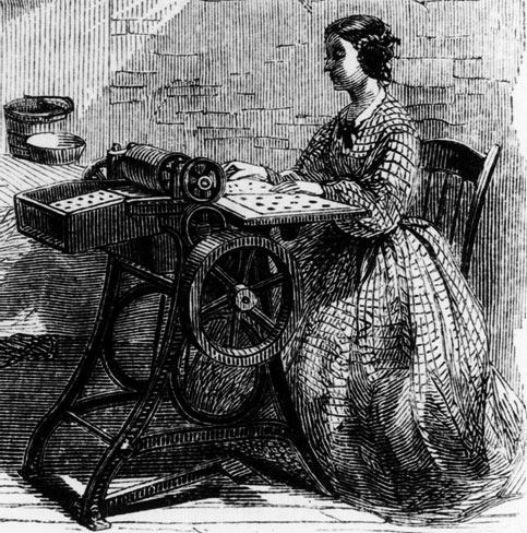 drawing of a woman at a Rotary Perforating Machine
